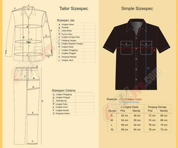 ukuran seragam sizespek pakaian baju dinas